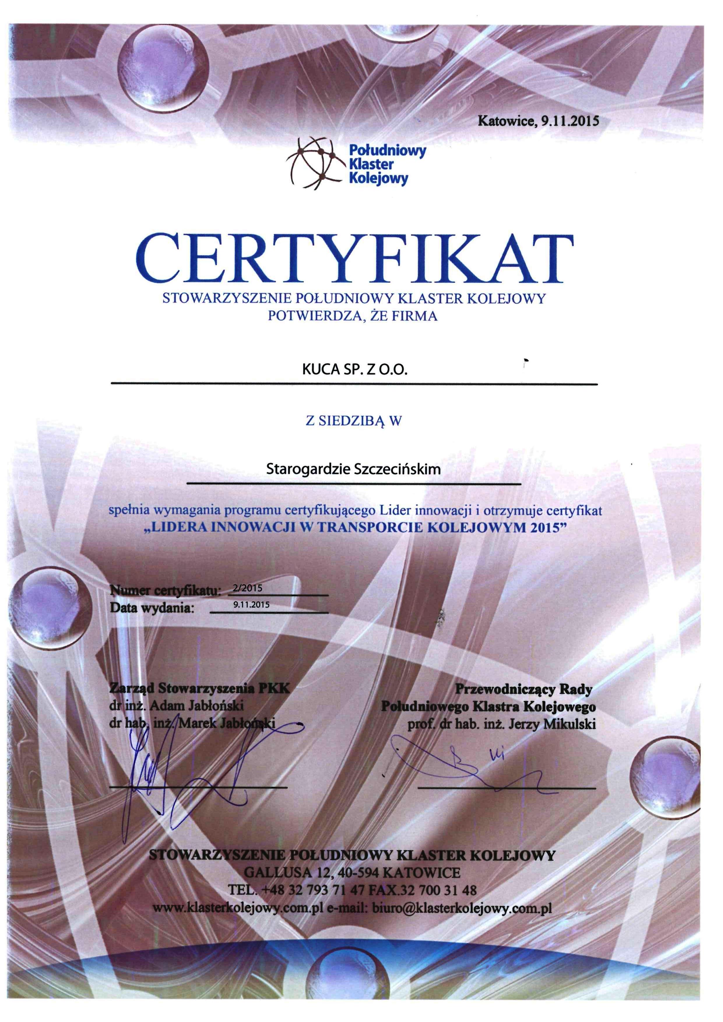 Certyfikat PPK 09.11.2015