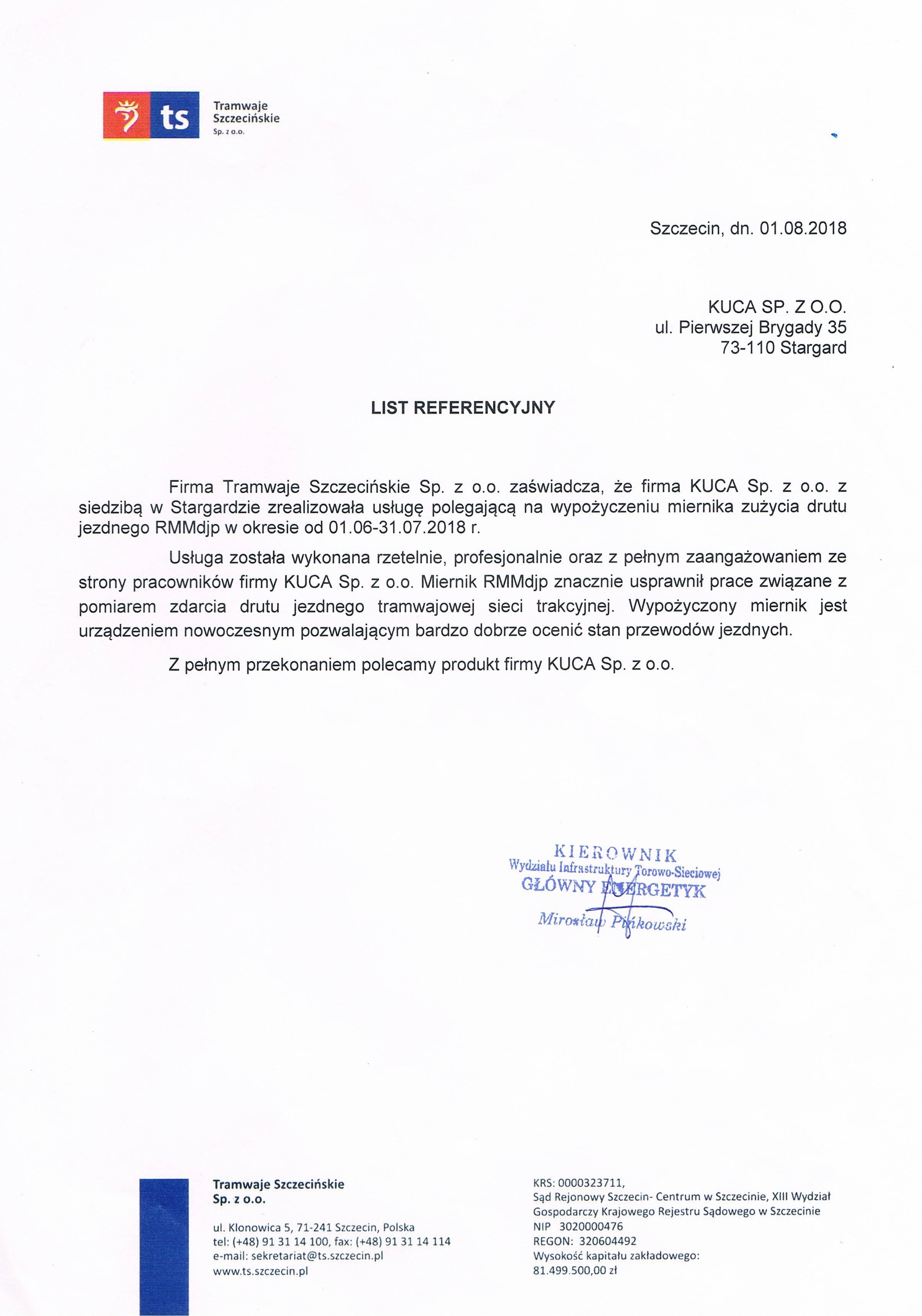 List Referencyjny TSz 01.08.2018