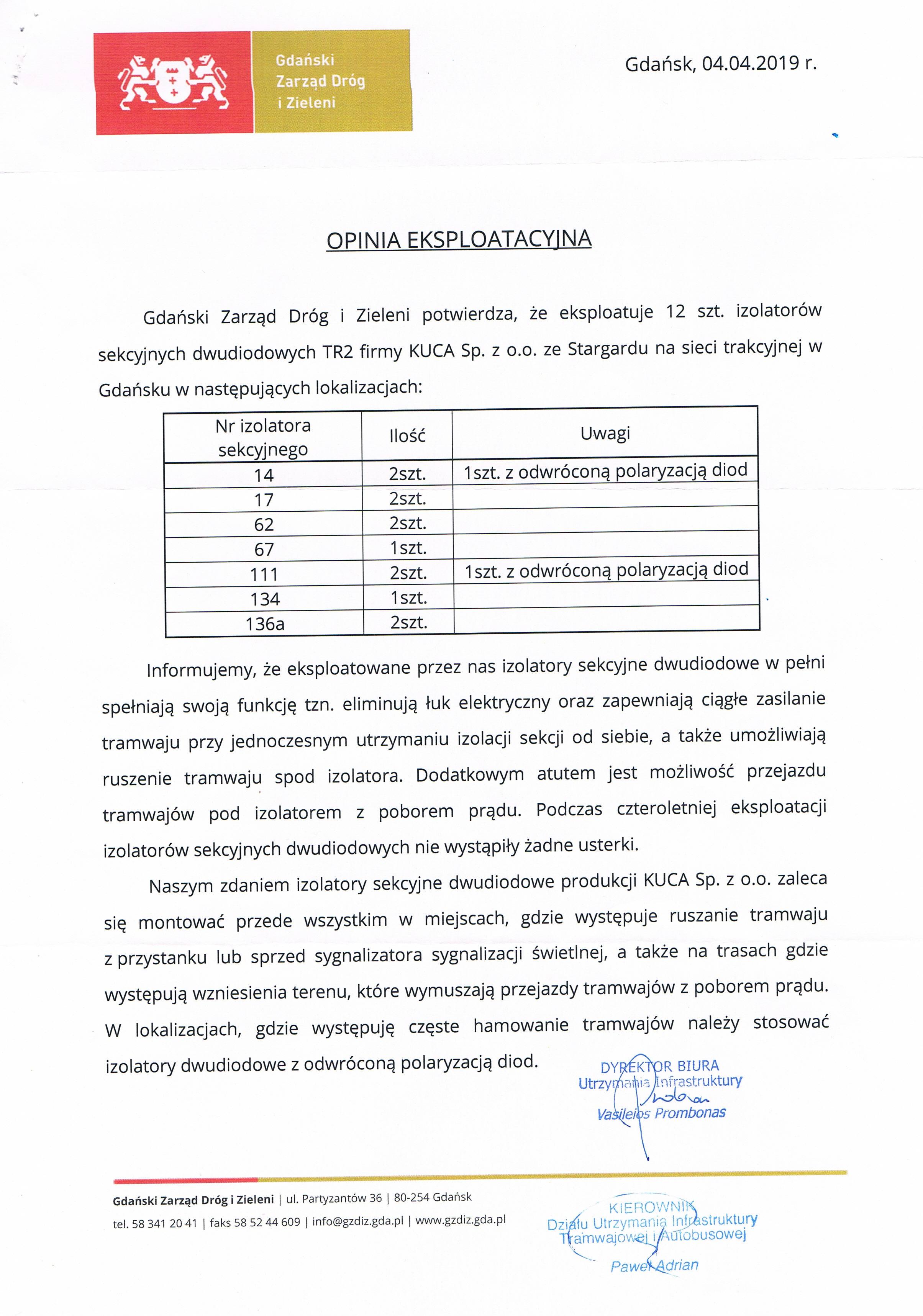 Opinia eksploatacyjna GZDiZ 04.04.2019