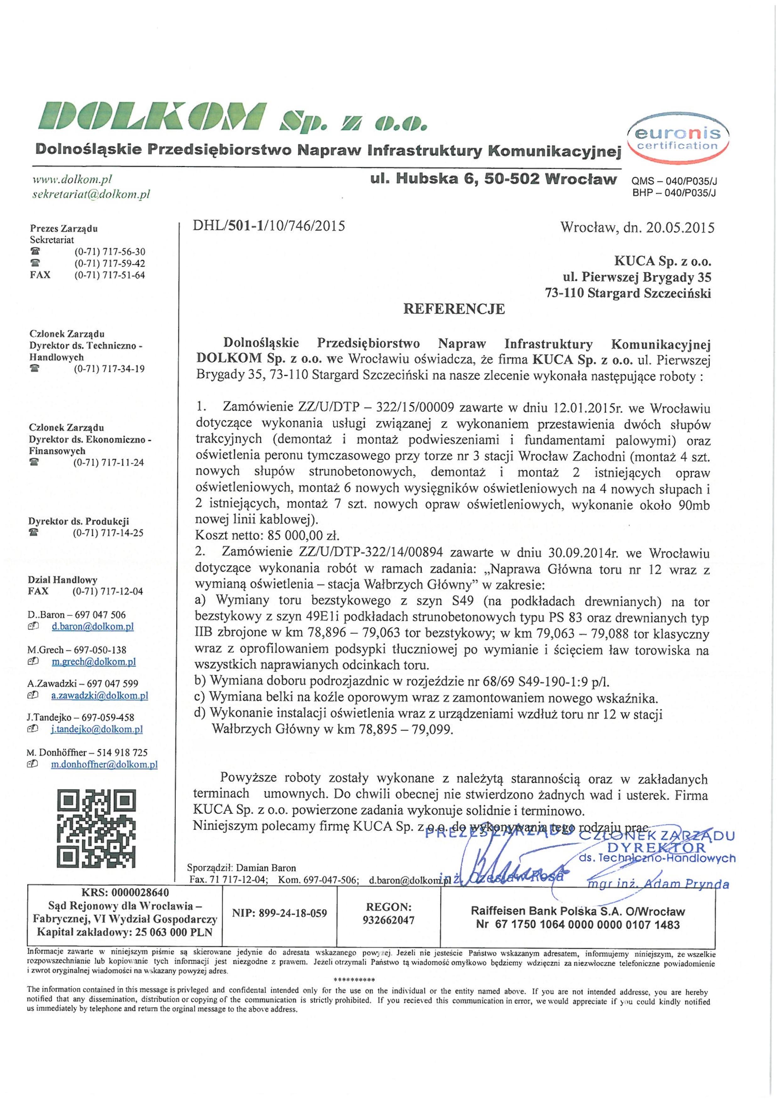 Referencje DOLKOM 20.05.2015