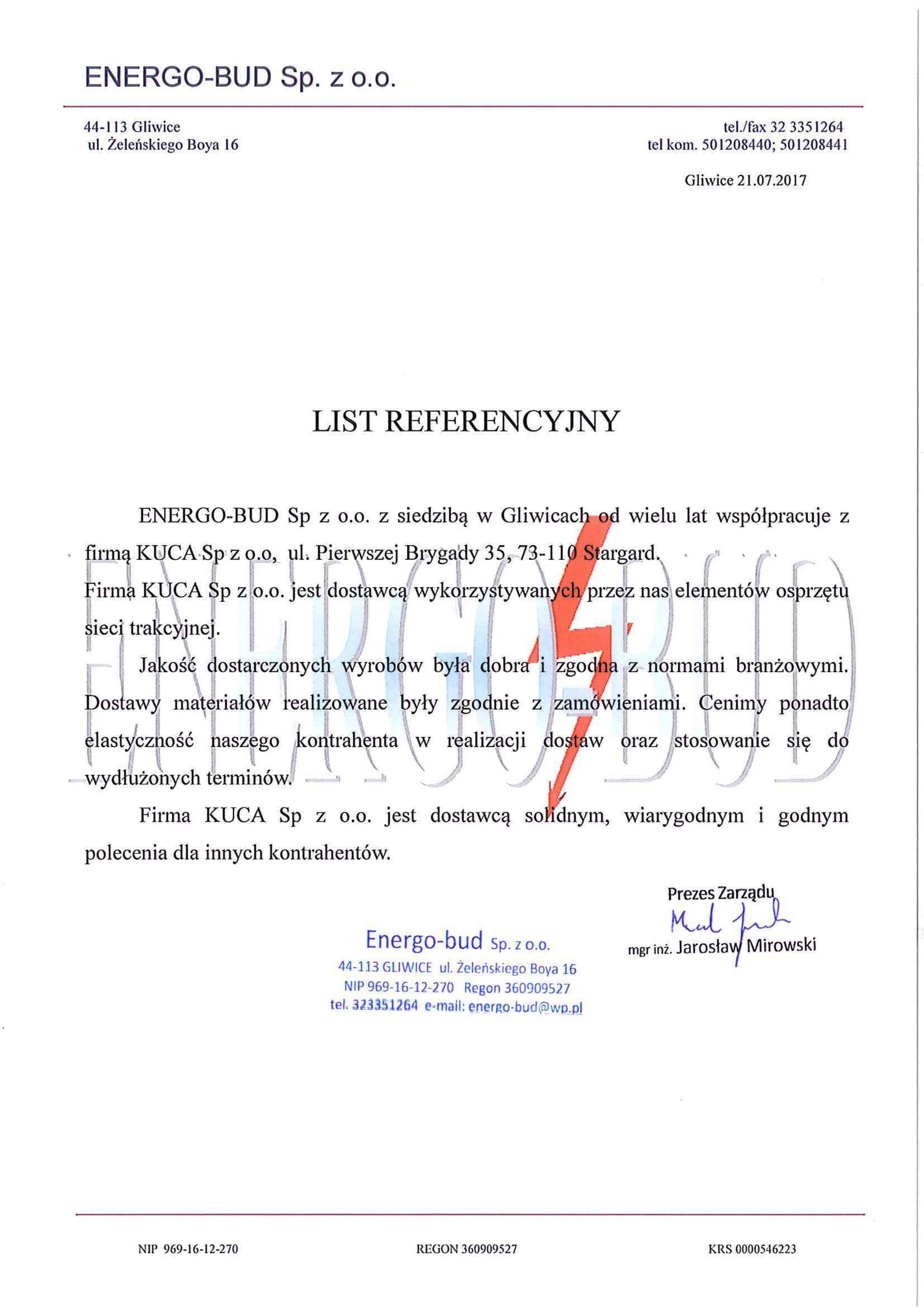 Referencje ENERGO-BUD 21.07.2017