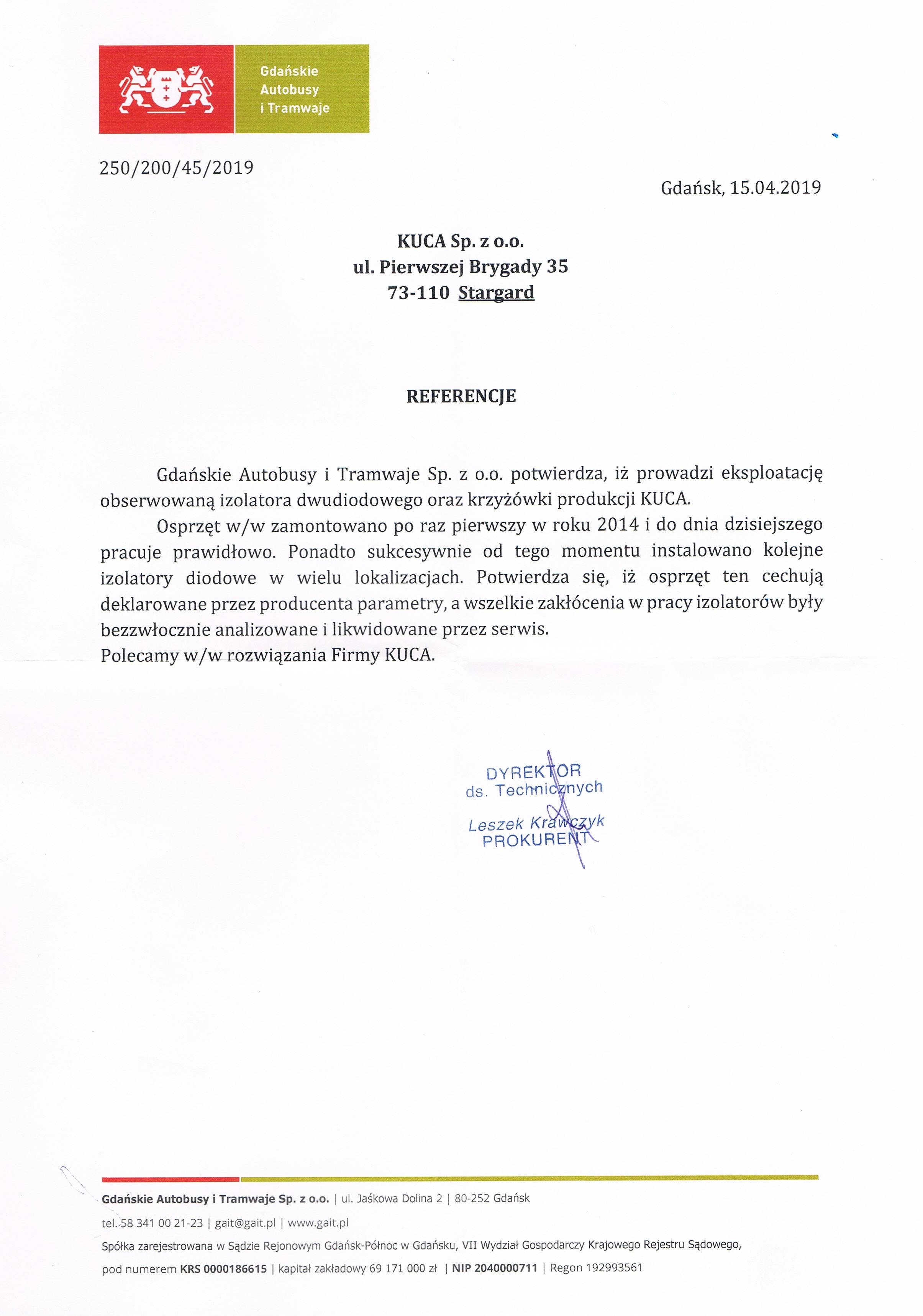 Referencje Gdańskie Autobusy i Tramwaje 15.04.2019