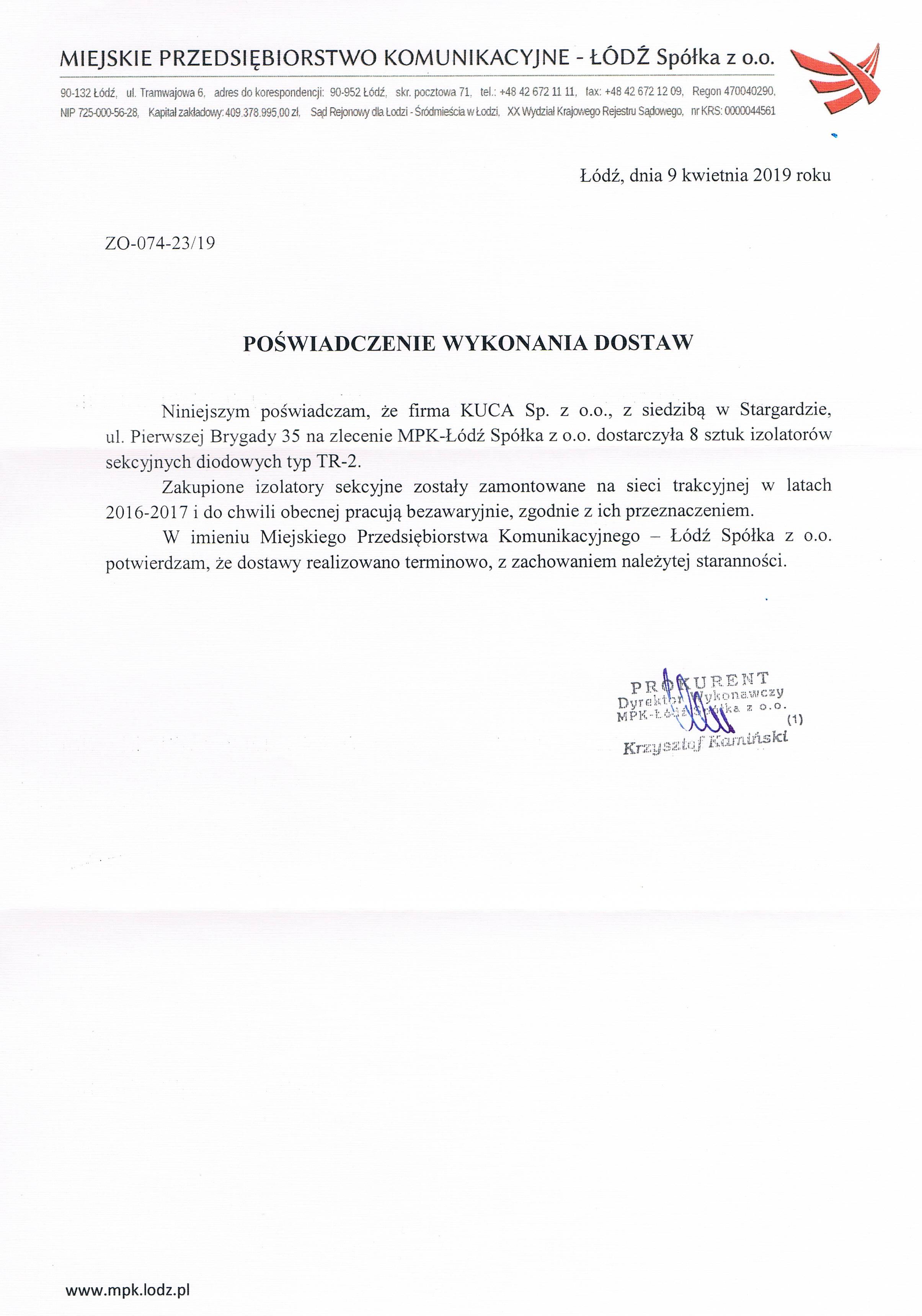 Referencje MPK Łódź 09.04.2019