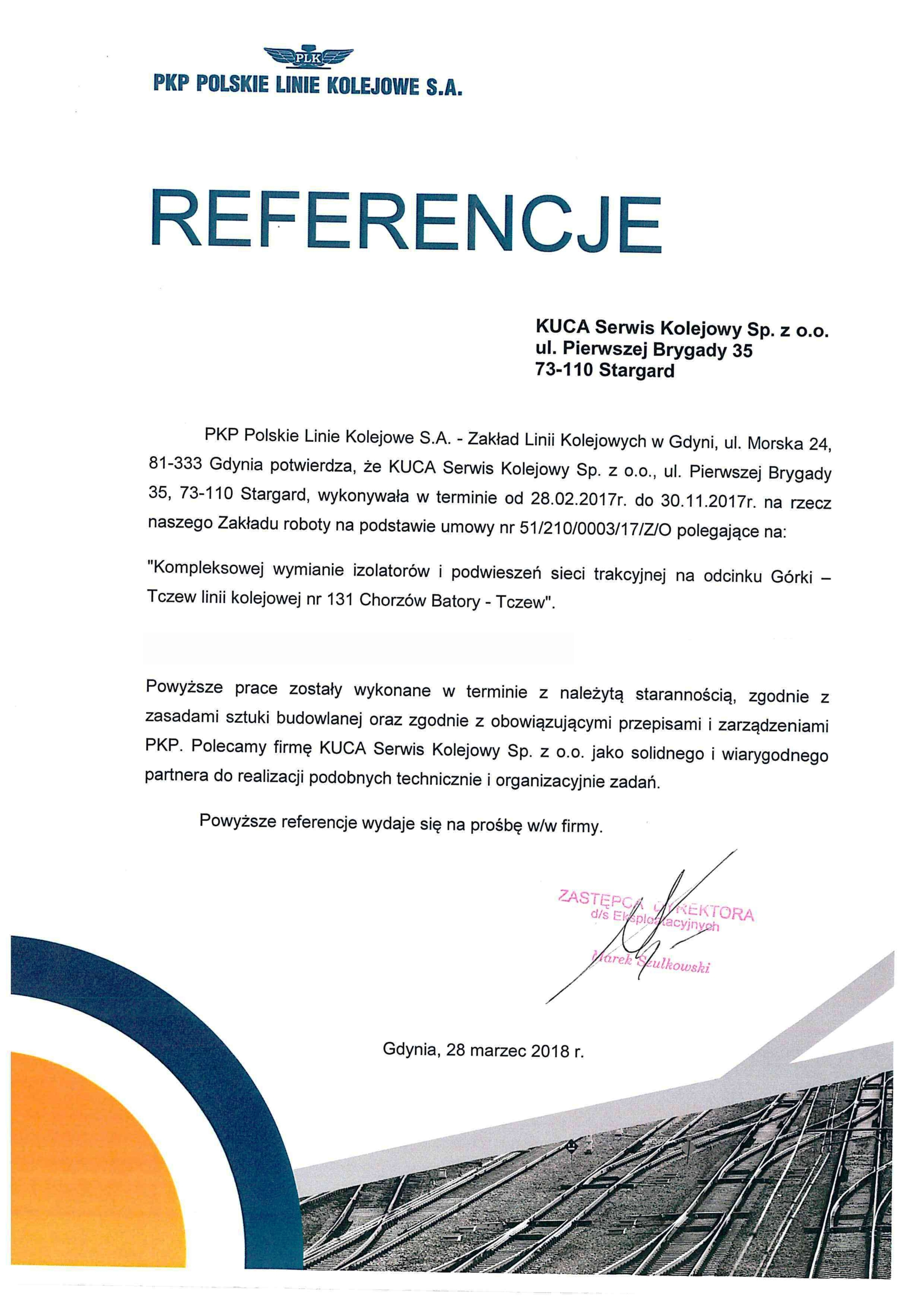 Referencje PKP S.A. 28.03.2018