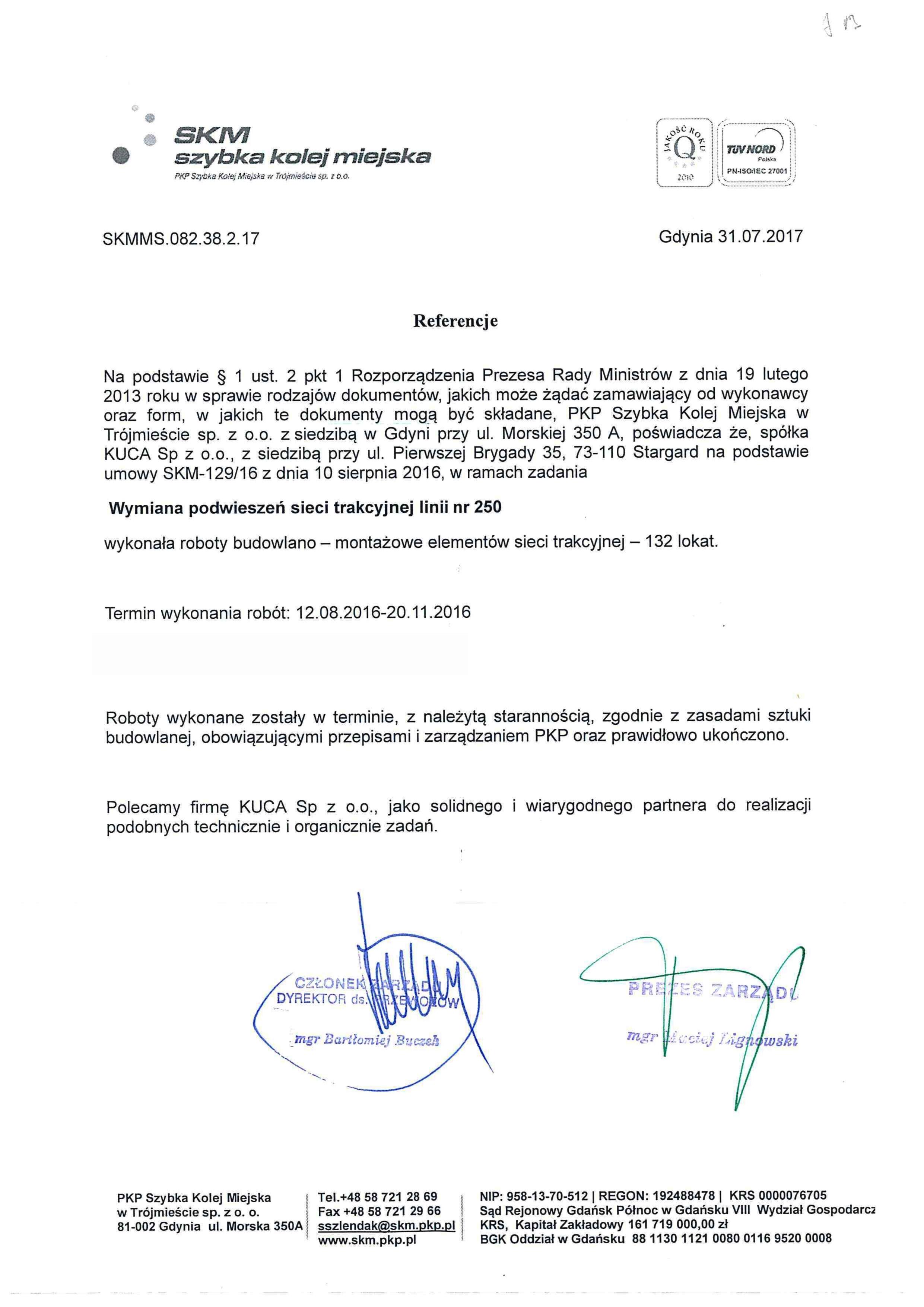Referencje SKM 31.07.2017