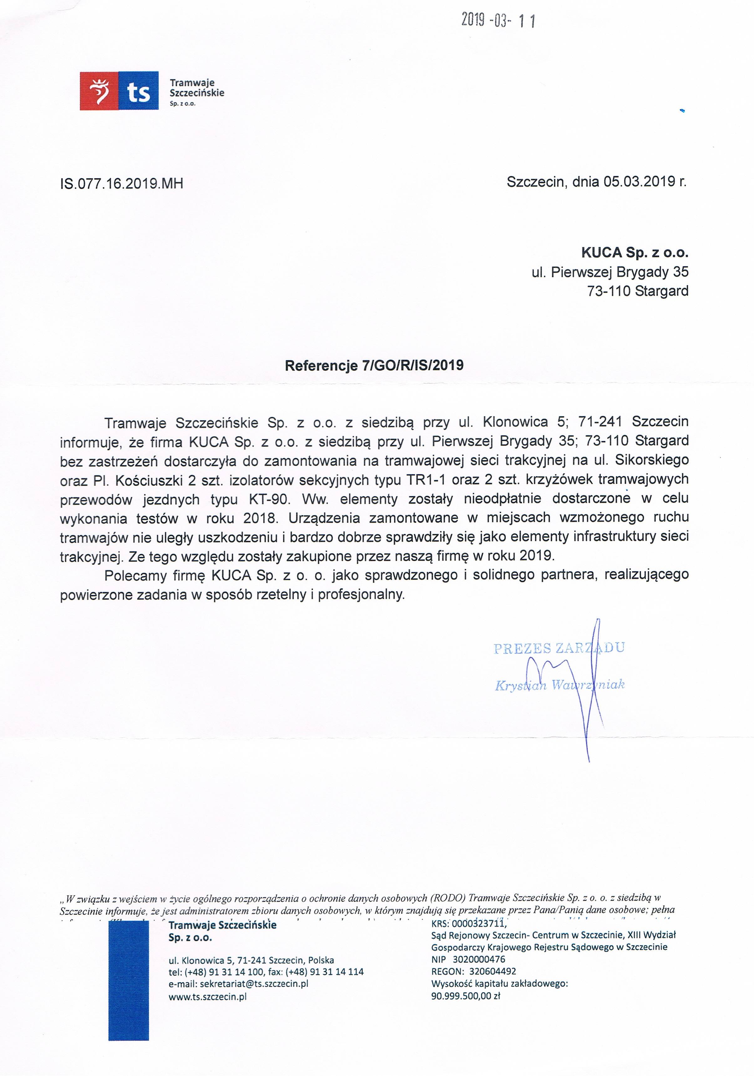 Referencje TSz 05.03.2019