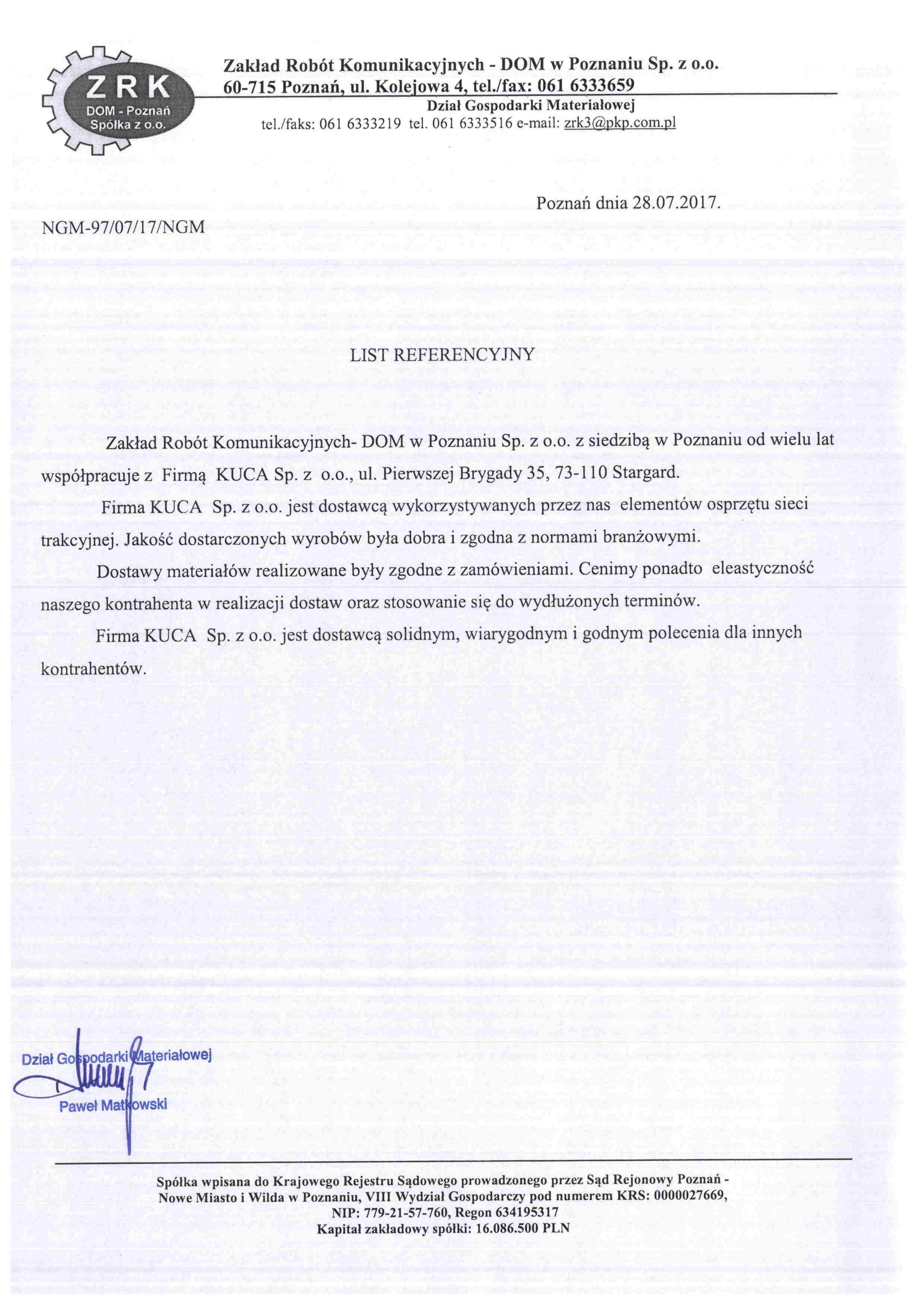 Referencje ZRK DOM 28.07.2017