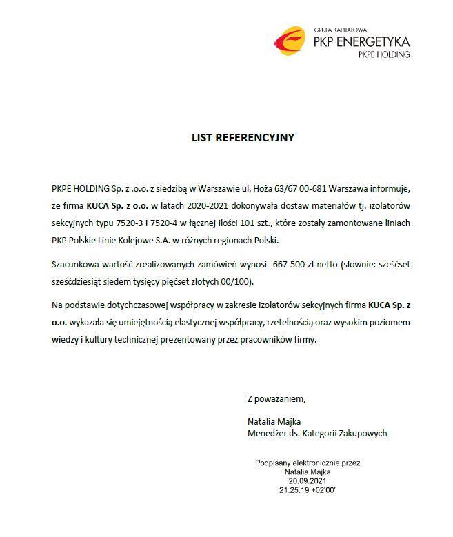 Referencje PKP Energetyka